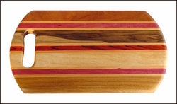 "Wood Cutting Board w/Stripes - 14"" x 8"""