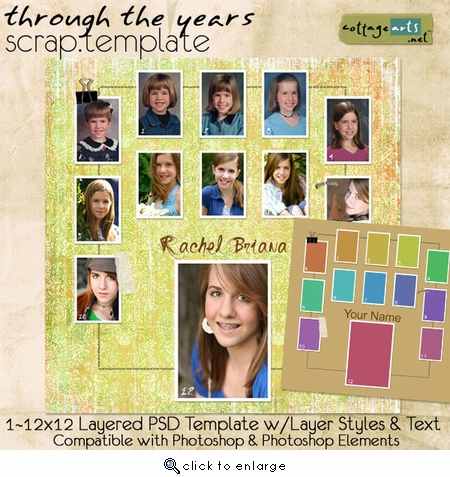 Through the Years Scrap Template