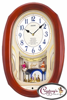 Wooden Case Clowns Seiko Clock QXM133BRH - 2005