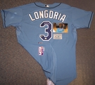Evan Longoria - Autographed Tampa Bay Rays , Baby Blue Majestic Official Authentic Jersey