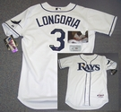 Evan Longoria - Autographed Tampa Bay Rays , White Majestic Official Authentic Jersey