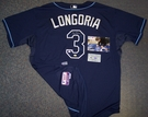 Evan Longoria - Autographed Tampa Bay Rays , Navy Majestic Official Authentic Jersey