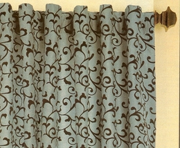 "84"" Flocked Delano Scroll Faux Silk Panel"