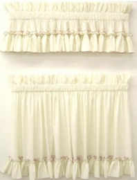 Carolina Pearl Edge Tiers 90 x 36 Country Style Curtains          SPECIAL ORDER