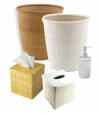 Wicker Waste Basket Bathroom Decor Set