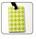 Houndstooth Green Luggage Tags