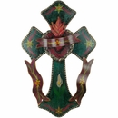 Mexican Three Ribbon Painted Tin Cross
