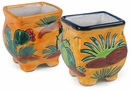 Talavera Mini Square Seed Pot - Cactus Design - Set of 2