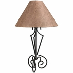 Iron Tri Base Table Lamp with Bown Bark Paper Shade