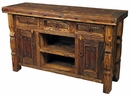 Wire Brush Ox Yoke Leg Entertainment Console with Iron Accents
