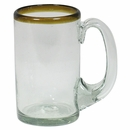 Amber Rimmed Mexican Glass Beer Mugs - Set of 4