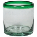Green Rimmed Rocks Glass - Set of 4