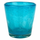Hand Blown Turquoise Rocks Glass - Bubble Glass - Set of 4