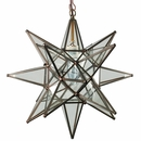 Medium Clear Glass Aged Tin Star Fixture