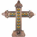 Large Aged Tin & Talavera Tile Cross Candleholder