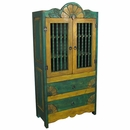 Green & Yellow Painted Wood Wardrobe
