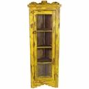 Small Painted Wood Yellow Corner Cabinet