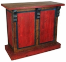Small Red Painted Wood Bar