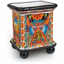 Large Talavera Ball Footed Square Planter