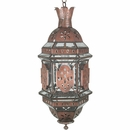 Aged Tin Hanging Domed Light with Glass Panels