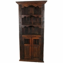 Rustic Wood Corner Cabinet with Shelves