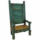 Mexican Painted Wood Throne Chair - Green