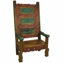 Mexican Throne Chair - Multi-Color Painted Wood
