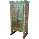 Crown Top Painted Distressed Old Door Armoire