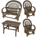 Twig Furniture 4-Piece Set - With Bark