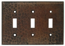 Triple Toggle - Hammered Copper Switchplate