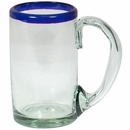 Mexican Blue Rimmed Beer Mugs - Set of 4