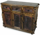 Old Wood Buffet with Embossed Copper Panels