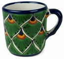Talavera Coffee Cup - Peacock Pattern