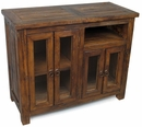 Rustic Old Wood Entertainment Console with Glass Doors