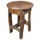 Round Mesquite and Old Wood  Tall Occasional table