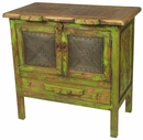 Mexican Painted Wood Buffet with Tin Panels