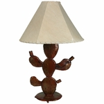 Small Rusted Prickly Pear Cactus Table Lamp