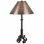 4 Footed Iron Lamp with Gusanito Punched Tin Shade