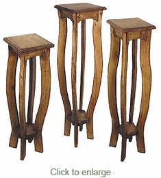 Rustic Pedestal Plant Stands - Set of 3