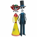 Painted Tin Catrin and Catrina Skeleton Couple - Day of the Dead