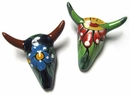 Mini Talavera Cow Skulls - Set of 3