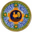 "Small Floral Rooster Platter - 11.75"" Dia."
