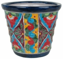 Mexican Talavera Ribbed Pot