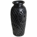 Etched Black Clay Oaxacan Vase