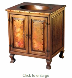 Old Wood and Copper Sink Cabinet - 2 Door