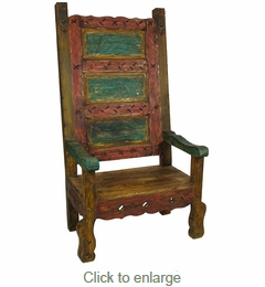 Room Furniture Mexican Throne Chair Multi Color Painted Wood