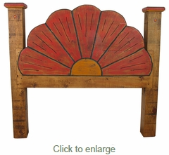 Mexican Painted Wood Flower Headboard