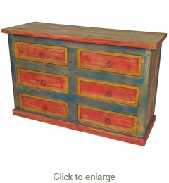 Painted Bedroom Furniture Mexican Painted Wood Multi Color Dresser