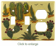 Mexican Ceramic Double Switch And Outlet Cover - Cactus