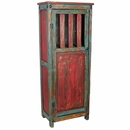 Painted Wood Storage Cabinet - Red & Blue